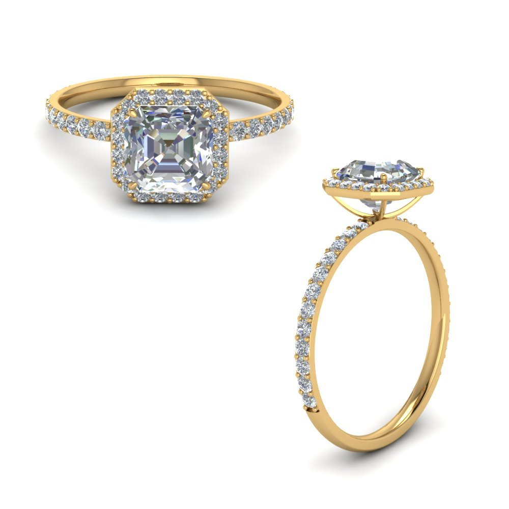 Petite Halo Diamond Engagement Ring In 18K Yellow Gold