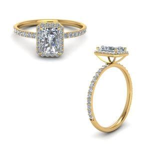 Petite Halo Diamond Engagement Ring For Women In 14K Yellow Gold