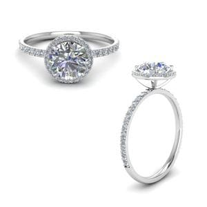 Petite Halo Round Diamond Ring In 14K White Gold