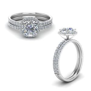 Petite Halo Diamond Bridal Set