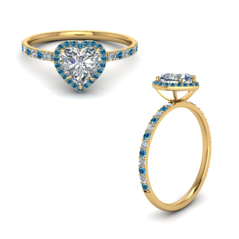 Petite Heart Halo Diamond Ring With Blue Topaz In 14K Yellow Gold