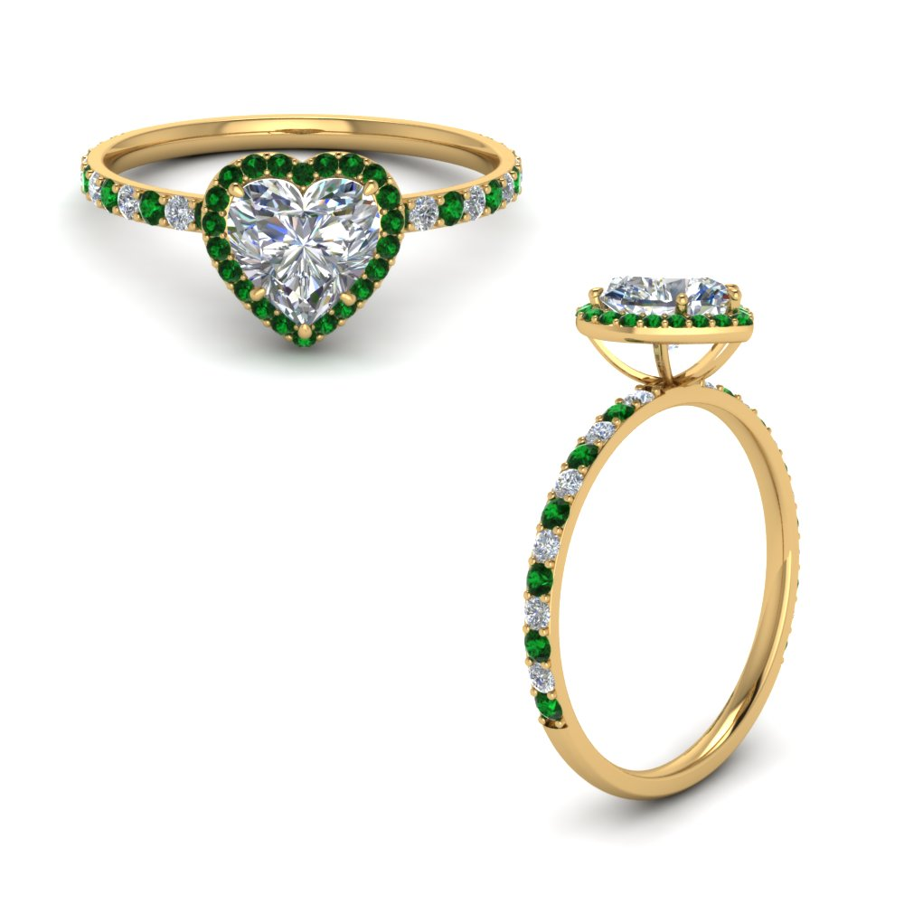 Petite Heart Halo Diamond Ring With Emerald In 18K Yellow Gold