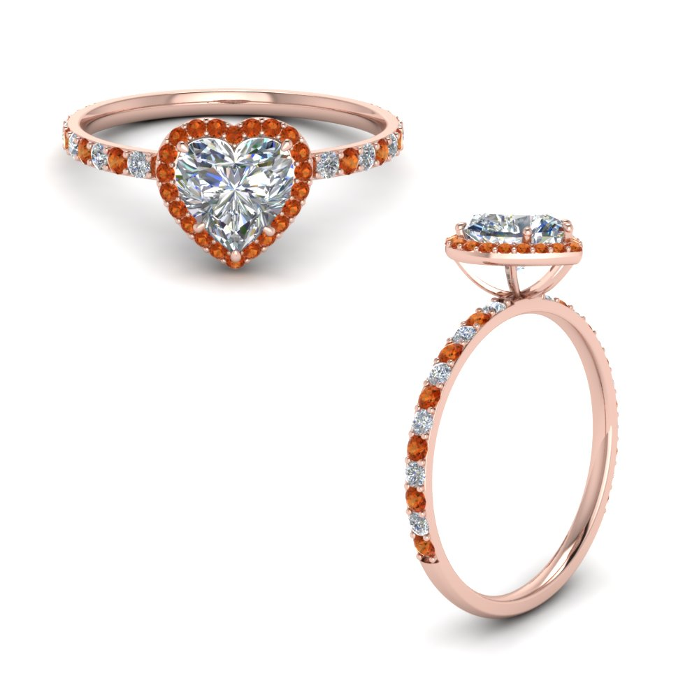Petite Heart Halo Diamond Ring With Orange Sapphire In 14K Rose Gold