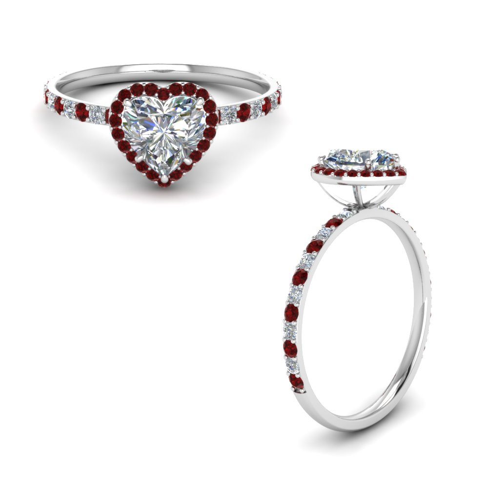 Petite Heart Halo Diamond Ring With Ruby In 18K White Gold