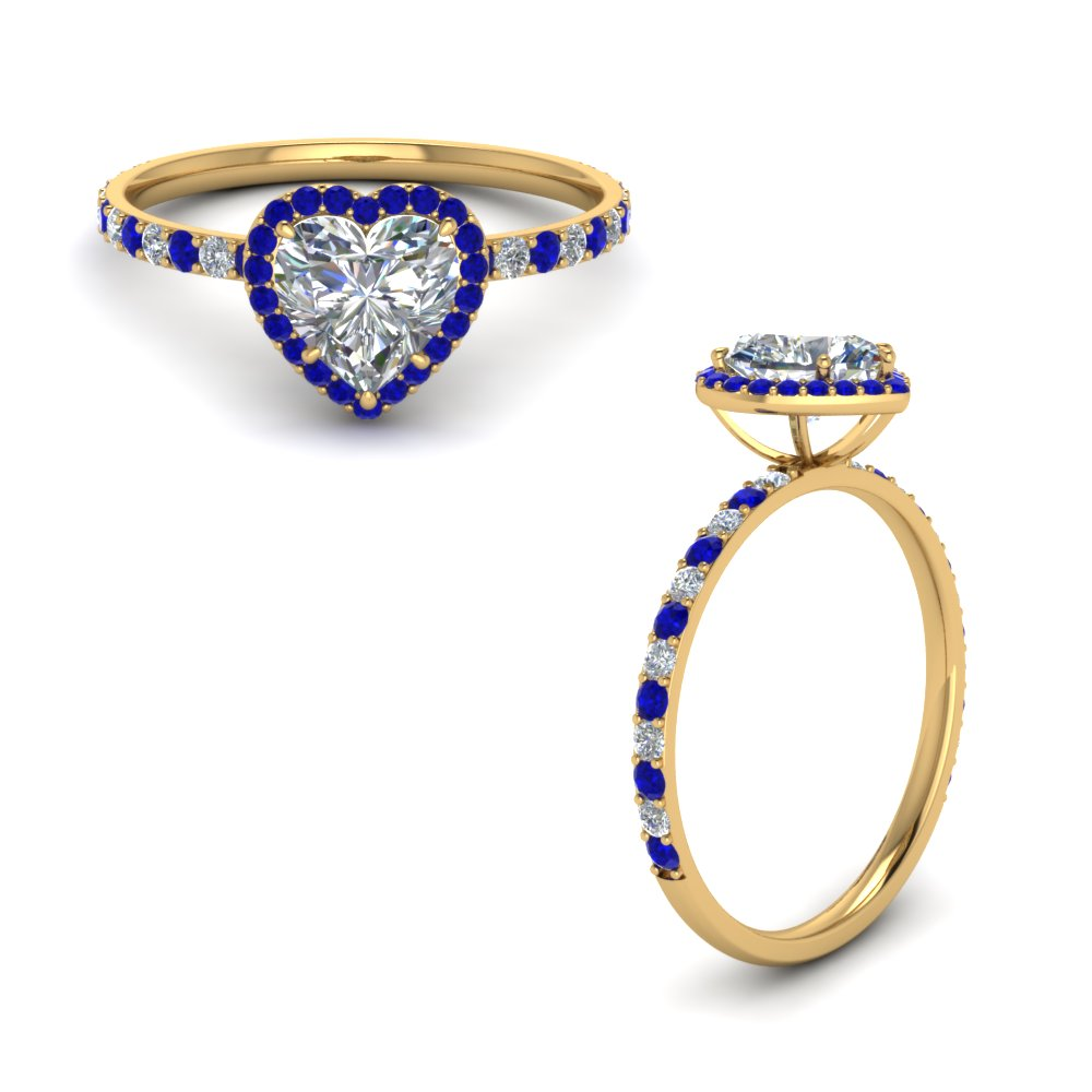 Petite Heart Halo Diamond Ring With Sapphire In 14K Yellow Gold