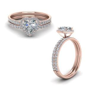 Petite Heart Wedding Ring Set