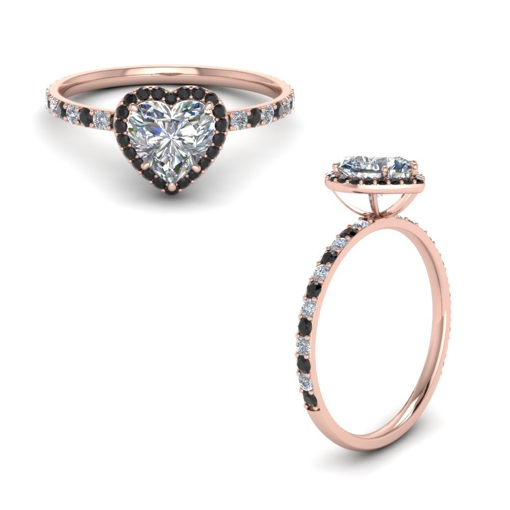 Petite Heart Halo Ring With Black Diamond In 18K Rose Gold