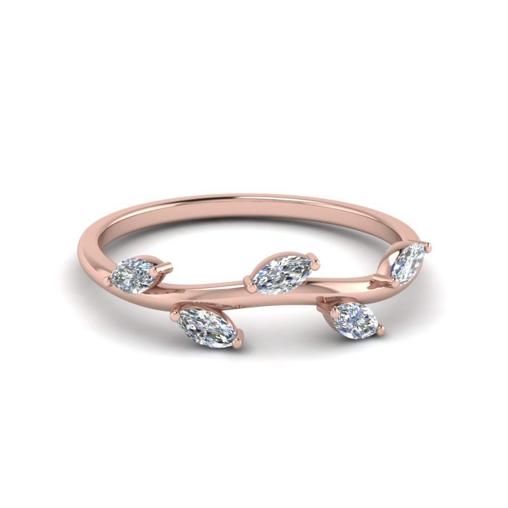Petite Leaf Design Marquise Diamond Band In 18K Rose Gold