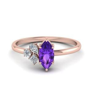 Delicate Amethyst 3 Stone Ring