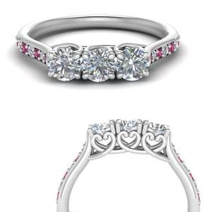 Pave 3 Stone Pink Sapphire Band