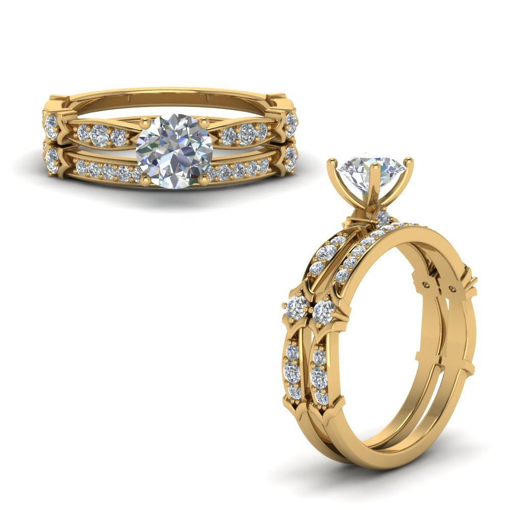 Petite Pave Diamond Bridal Set In 14K Yellow Gold