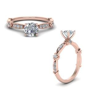 Petite Pave Diamond Engagement Ring In 14K Rose Gold