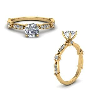 Petite Pave Diamond Engagement Ring In 14K Yellow Gold