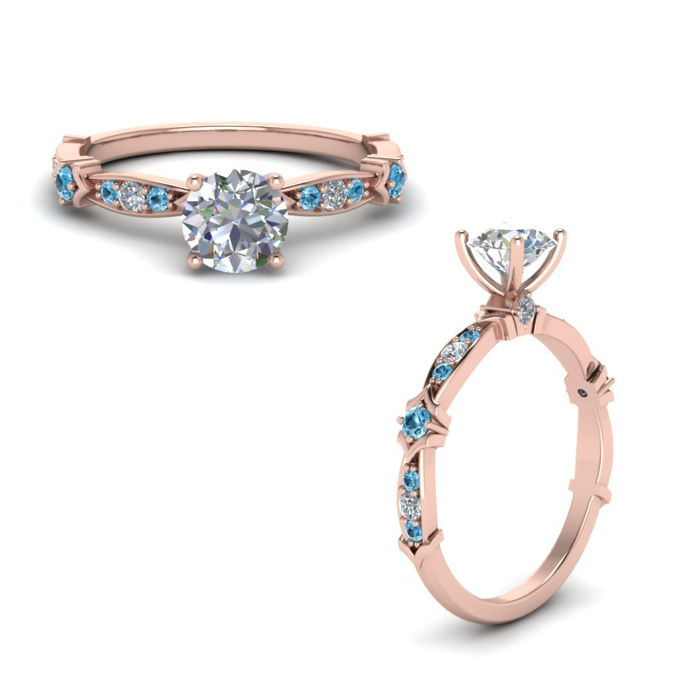 Petite Pave Diamond Engagement Ring With Blue Topaz In 14K Rose Gold