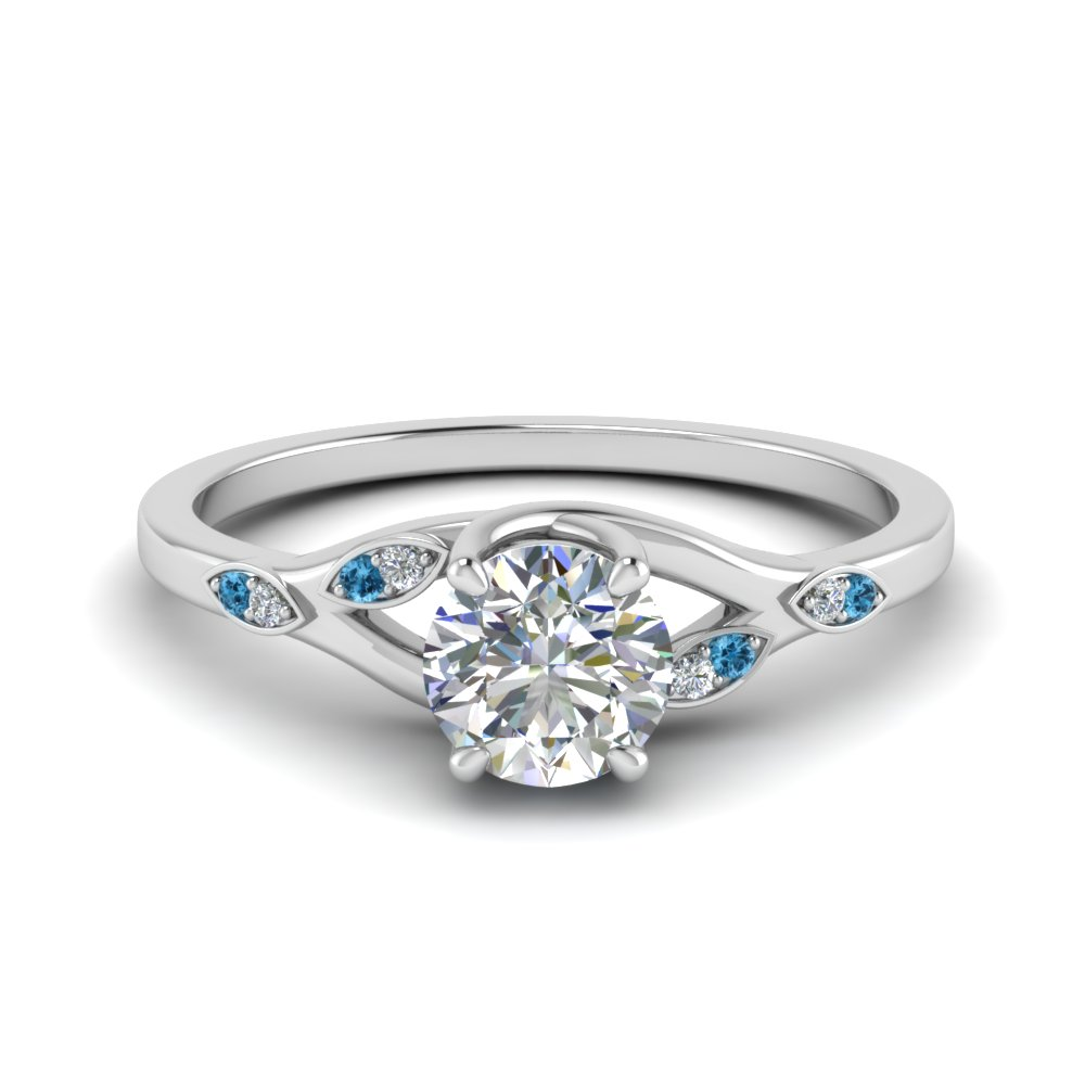 Nature Inspired  Diamond Engagement Ring With Blue Topaz In 950 Platinum