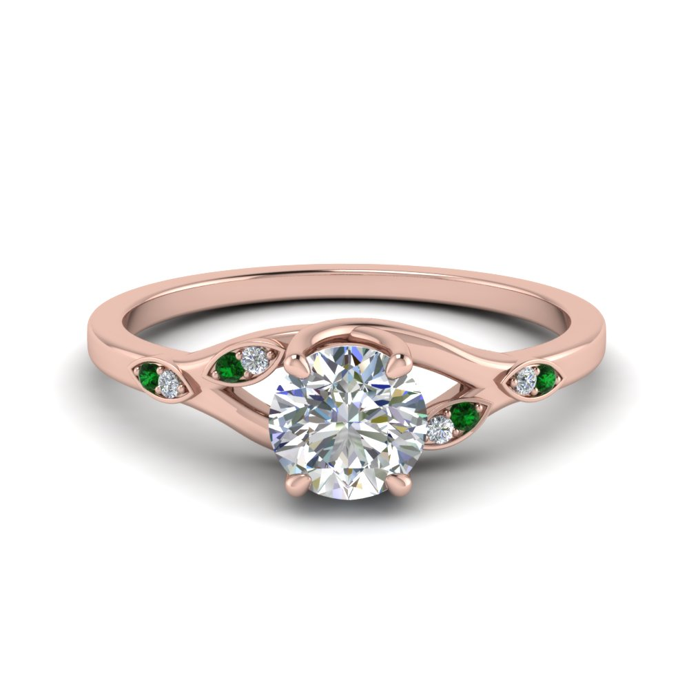 Nature Inspired  Diamond Engagement Ring With Emerald In 18K Rose Gold