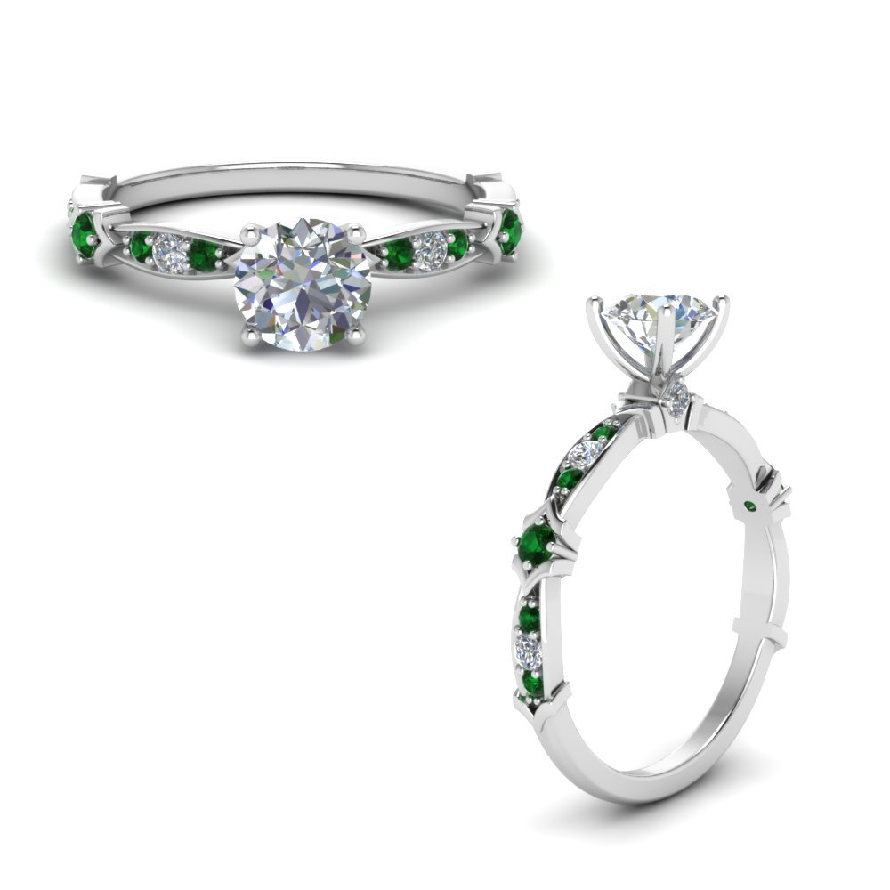 Petite Pave Diamond Engagement Ring With Emerald In 18K White Gold