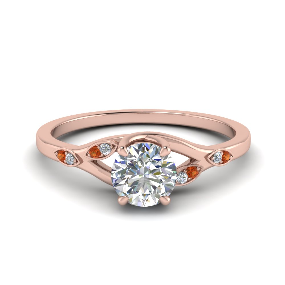 Nature Inspired  Diamond Engagement Ring With Orange Sapphire In 14K Rose Gold