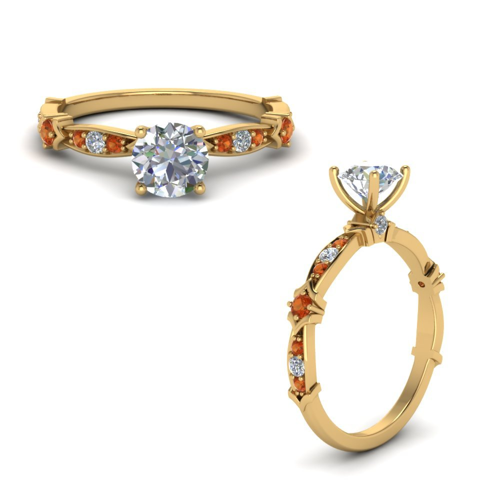 Petite Pave Diamond Engagement Ring With Orange Sapphire In 14K Yellow Gold