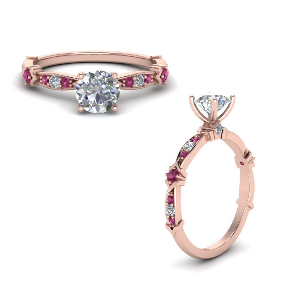 Petite Pave Diamond Engagement Ring With Pink Sapphire In 14K Rose Gold