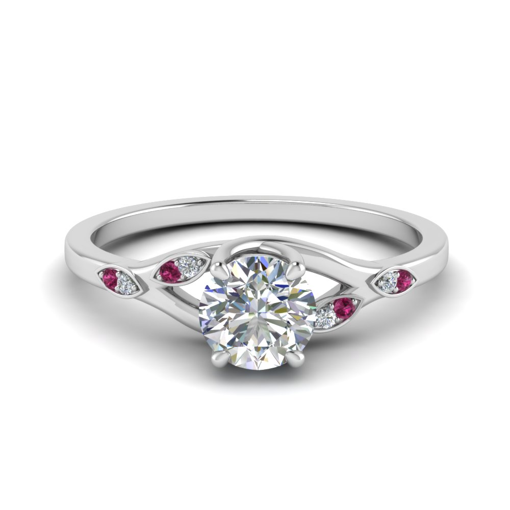 Nature Inspired  Diamond Engagement Ring With Pink Sapphire In 14K White Gold