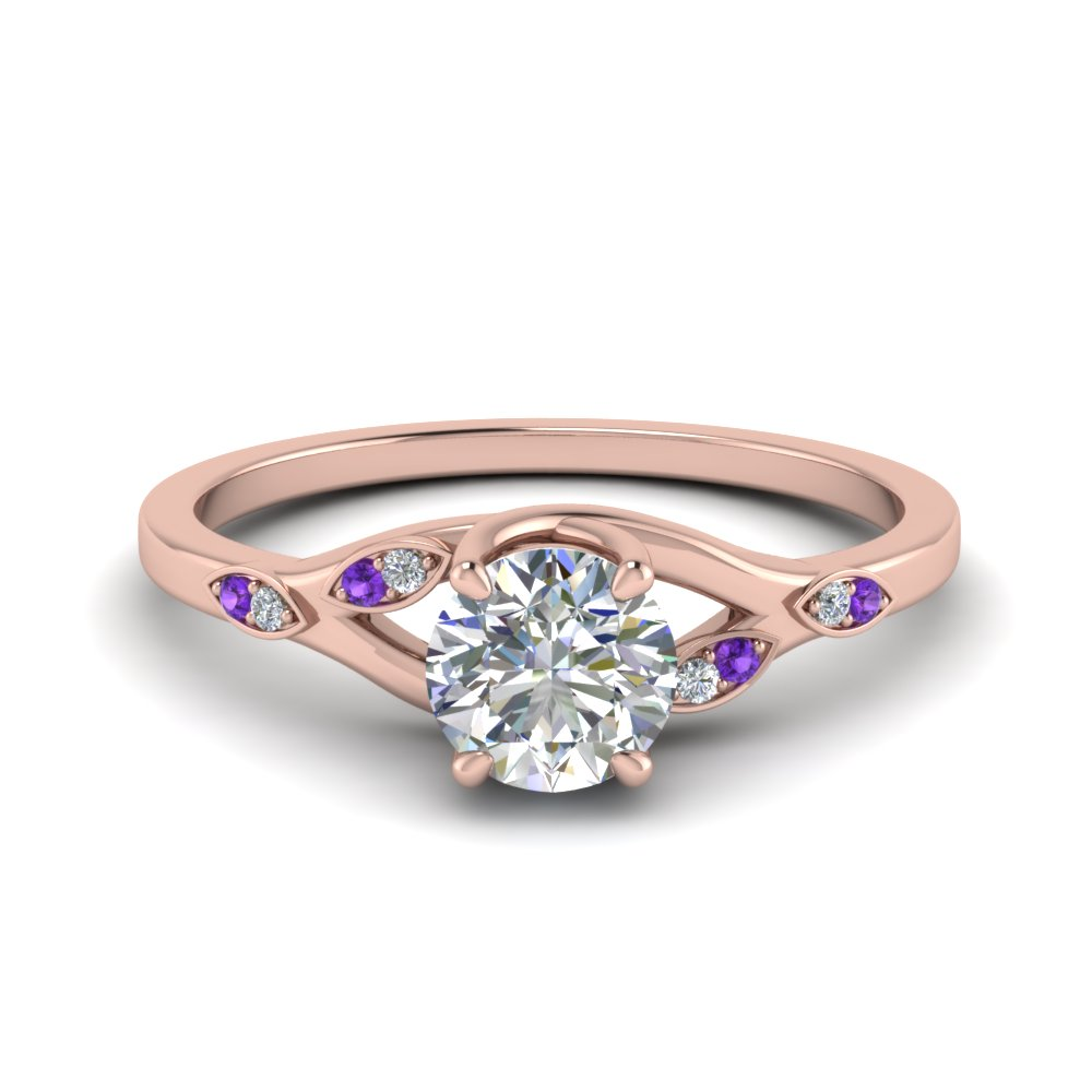 Nature Inspired  Diamond Engagement Ring With Purple Topaz In 14K Rose Gold