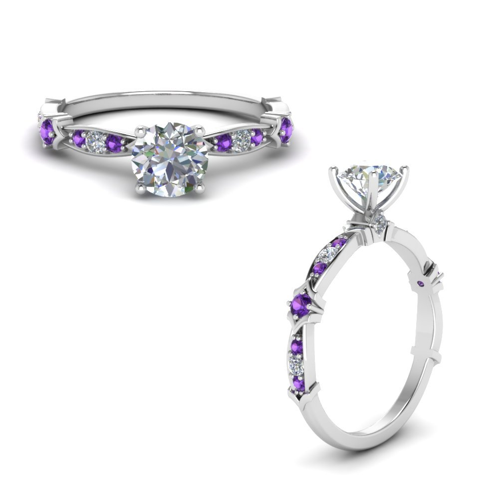 Petite Pave Diamond Engagement Ring With Purple Topaz In 950 Platinum