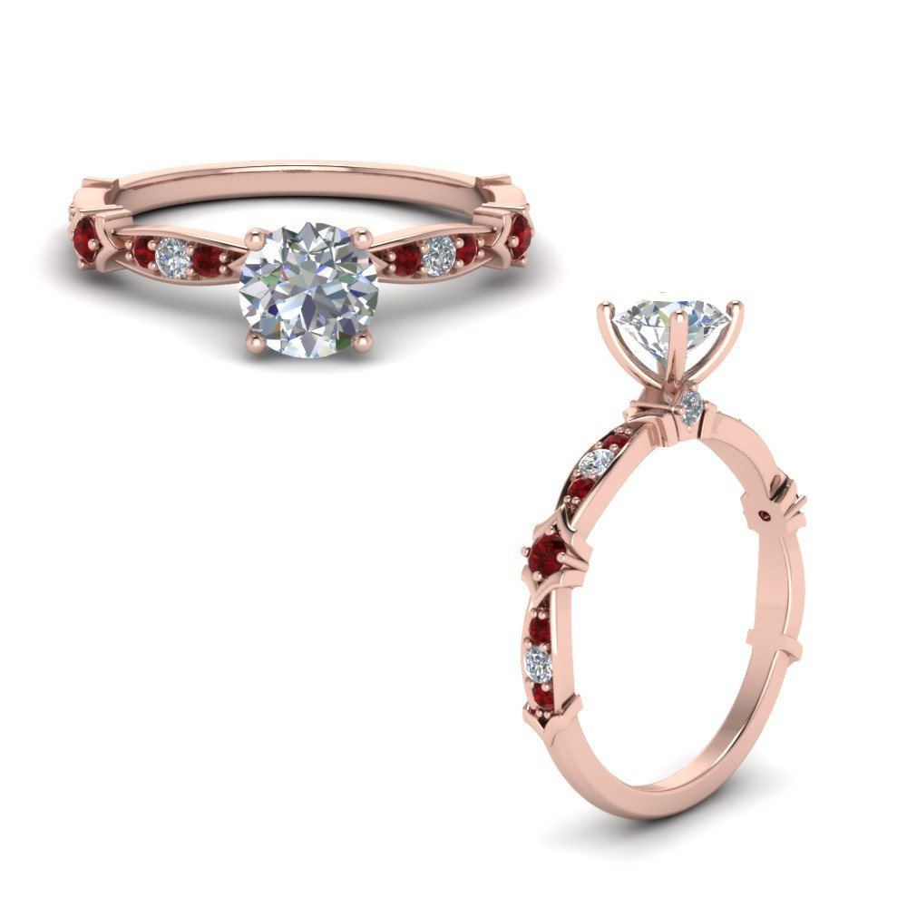 Petite Pave Diamond Engagement Ring With Ruby In 18K Rose Gold