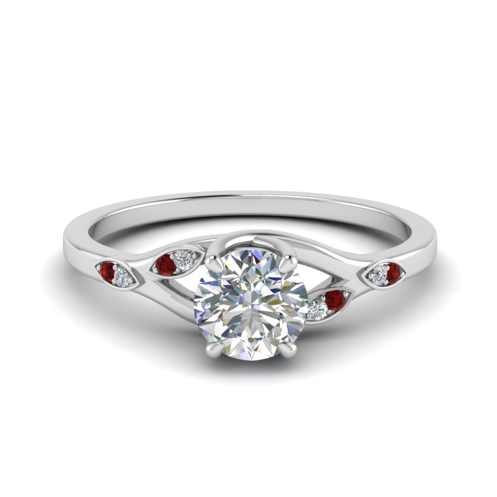 Nature Inspired  Diamond Engagement Ring With Ruby In 18K White Gold