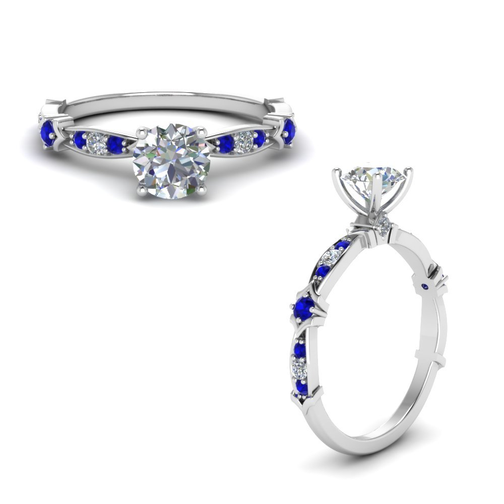 Petite Pave Diamond Engagement Ring With Sapphire In 14K White Gold