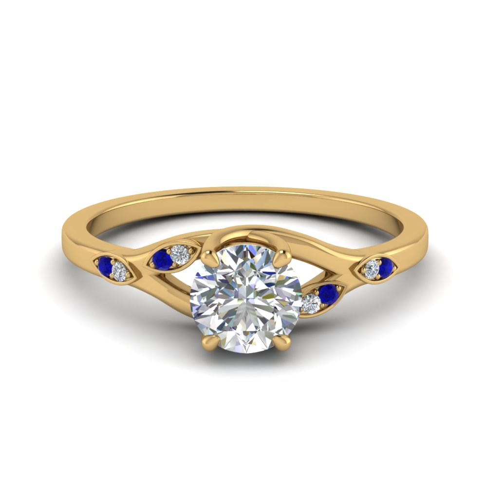 Nature Inspired  Diamond Engagement Ring With Sapphire In 14K Yellow Gold