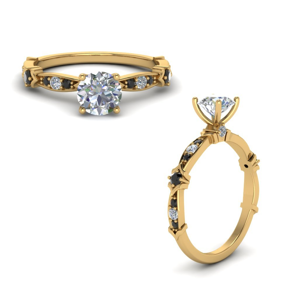 Petite Pave Engagement Ring With Black Diamond In 18K Yellow Gold