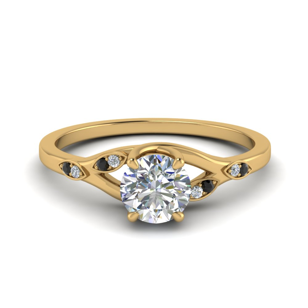 Nature Inspired  Engagement Ring With Black Diamond In 18K Yellow Gold