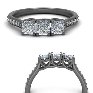 Princess Cut Black Gold Band
