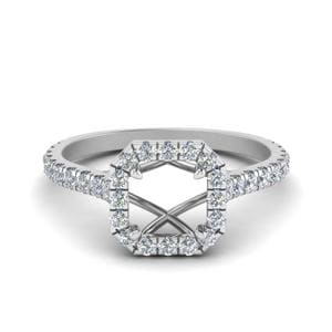Petite Diamond Halo Semi Mount Engagement Ring In 14K White Gold