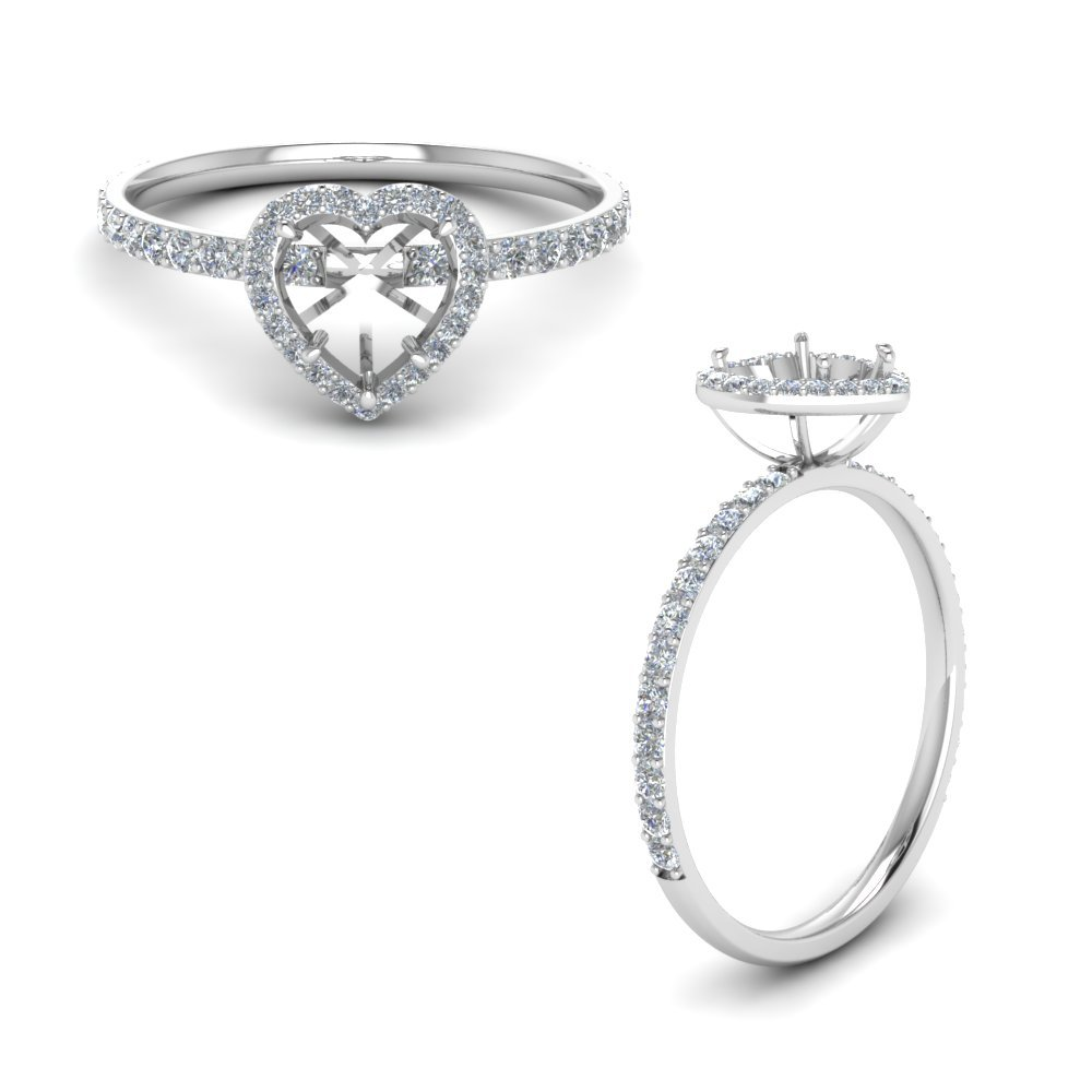 Petite Heart Halo Diamond Ring In 14K White Gold