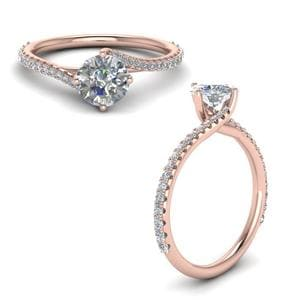 Petite Swirl Diamond Engagement Ring In 14K Rose Gold