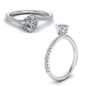 Petite Swirl Diamond Engagement Ring In 14K White Gold