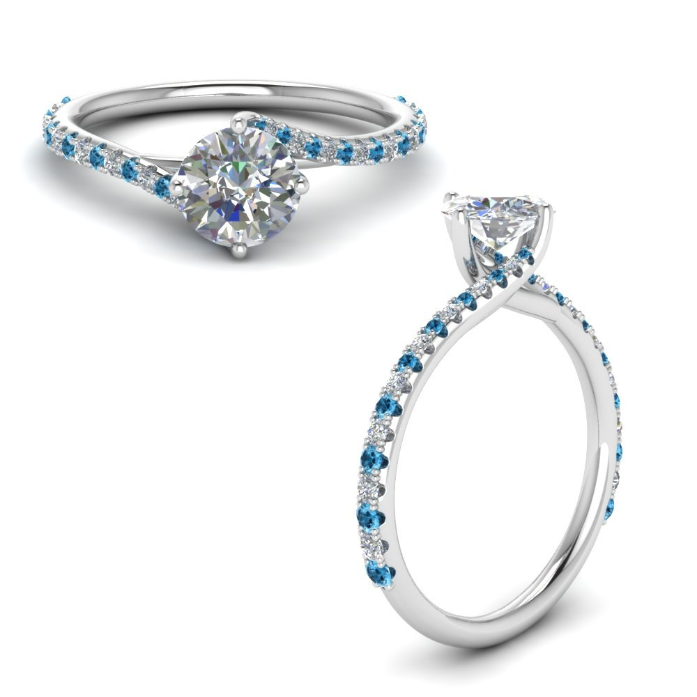 Petite Swirl Diamond Engagement Ring With Blue Topaz In 950 Platinum