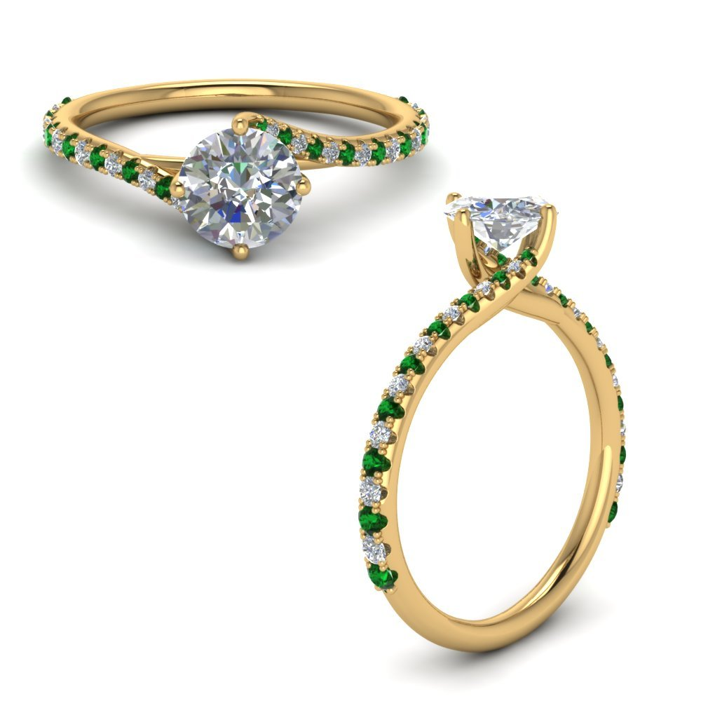 Petite Swirl Diamond Engagement Ring With Emerald In 18K Yellow Gold