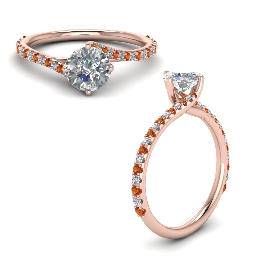 Petite Swirl Diamond Engagement Ring With Orange Sapphire In 14K Rose Gold