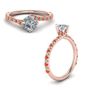 Petite Swirl Diamond Engagement Ring With Orange Topaz In 18K Rose Gold