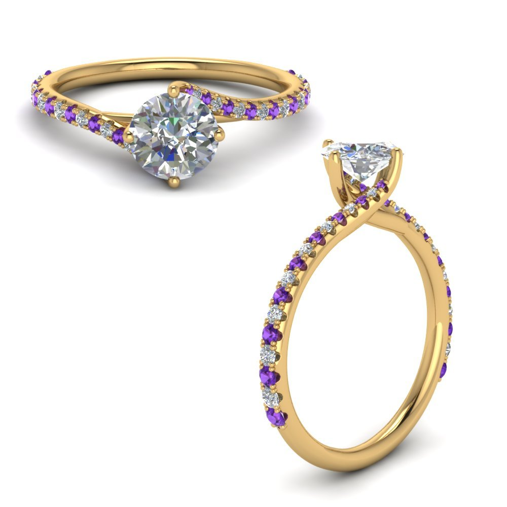 Petite Swirl Diamond Engagement Ring With Purple Topaz In 14K Yellow Gold