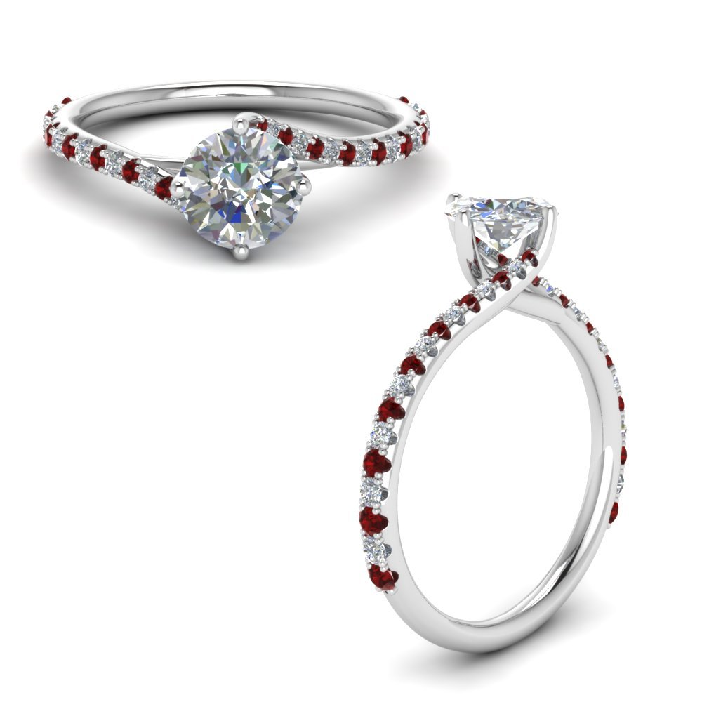 Petite Swirl Diamond Engagement Ring With Ruby In 18K White Gold