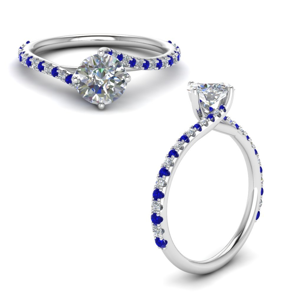 Petite Swirl Diamond Engagement Ring With Sapphire In 14K White Gold