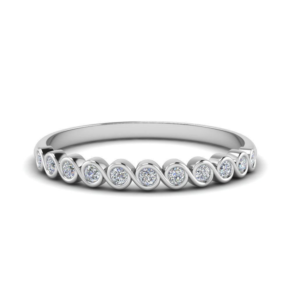 Petite Swirl Round Diamond Anniversary Ring In 14K White Gold