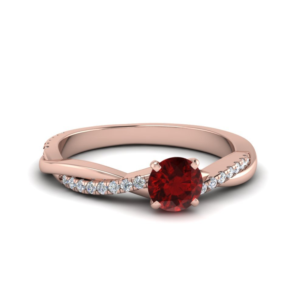 Petite Twisted Ruby Engagement Ring