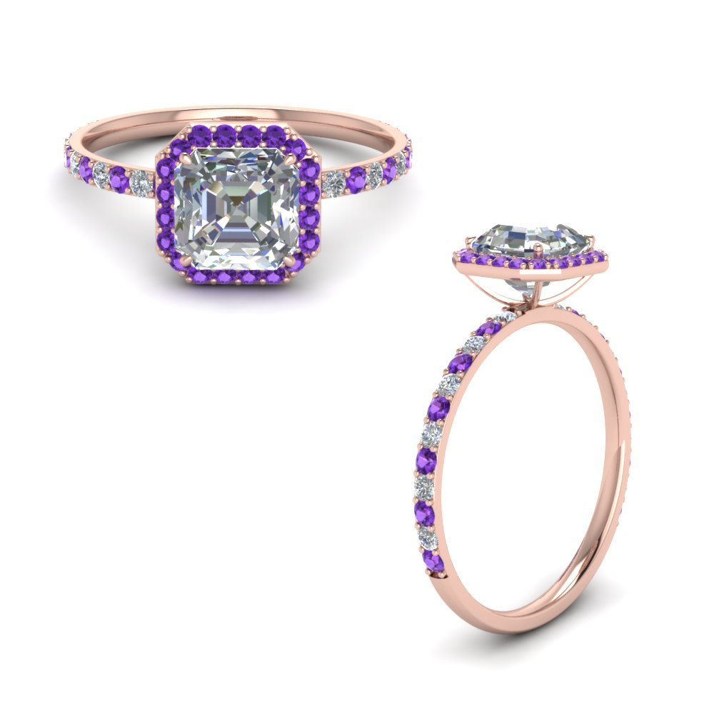 Diamond Ring With Purple Topaz