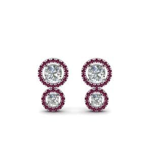 Pink Sapphire Dual Halo Earring