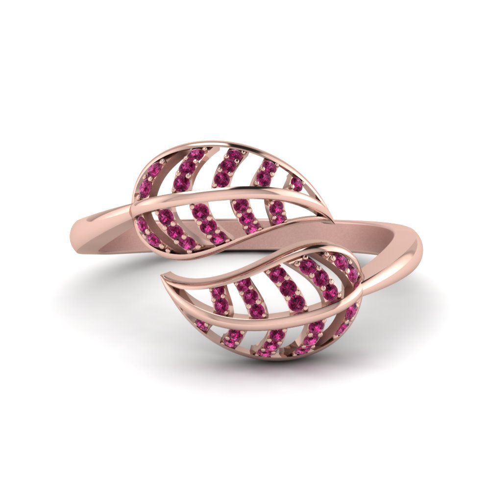 Pink Sapphire Leaf Bypass Ring In 14K Rose Gold